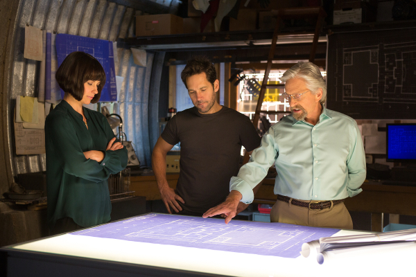 Marvel's Ant-Man L to R: Hope Van Dyne (Evangeline Lilly), Scott Lang/Ant-Man (Paul Rudd) and Hank Pym (Michael Douglas) Photo Credit: Zade Rosenthal © Marvel 2014